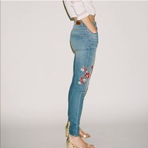 Express Embroider Floral Legging High Rise Jeans